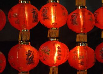 Red Lanterns brighten the Phuket Vegetarian Festival, Thailand