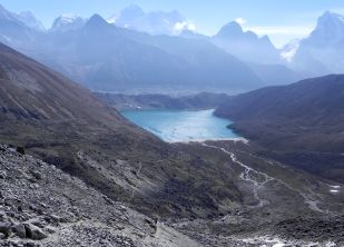 Everest and Gokyo from our Renjo La trail