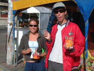 YUM! Fresh fruit salads for breakfast in Riobamba.