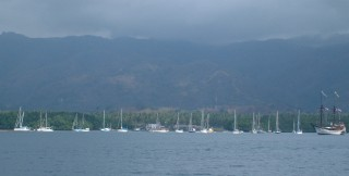 40 Rally boats fit in the anchorage off Riung, Flores