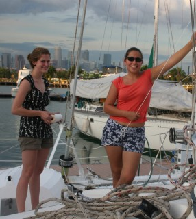 Rachel and Amanda aboard Ocelot in Singapore