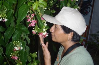 Shantha stops to smell the flowers!