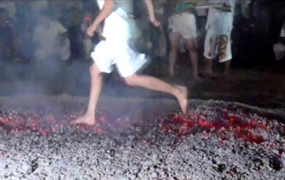 Barefoot Fire Walking, a highlight of the Phuket Vegetarian Festival, Thailand