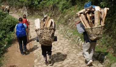 Amanda & Sonia passing woodcutters returning to Lukla
