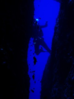 A diver highlighted on the far side of Split Rock