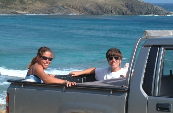Chris and Amanda in the back of Robin's pickup in St. Barths