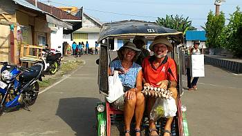 Morotai's public transport is an ojek, a cycle trishaw