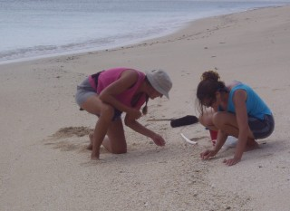 Sue and Laurie (Shearwater) shell hunting on the beach