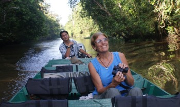 Sue & guide on the Kinabatangan river safari