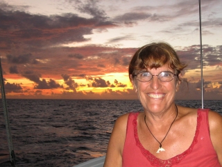 Sue at sunset on the Indian Ocean