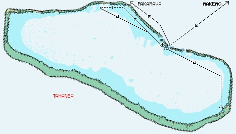 Tahanea Atoll - click here to see an overall map of the Tuamotus