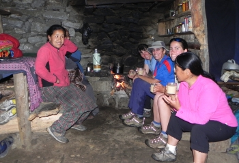 Warming tea/rest stop above Lukla