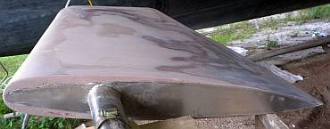 The pink filler shows how much the rudder's profile changed