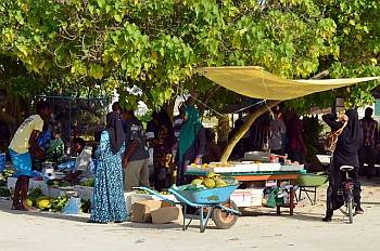 Weekly market on one of the Maldives islands.