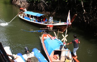Long-tail boats at Crocodile Cave, Tarutao