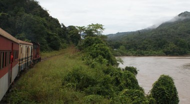 The diesel trail runs along the Padas River, Borneo