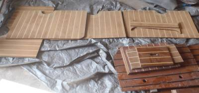 Ocelot's floorboards being prepared for varnish in Golf's workshop