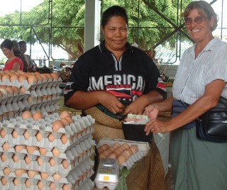 Sue and the egg lady at the Vava'u, Tonga, market.
