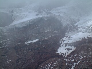 Mist over the glaciers of Chimboarzo, taken from over 16000 feet.
