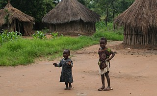 Kids in a farm workers' village, Zambia