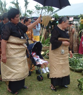 The Tongan Queen and her attendants at the agricultural fair